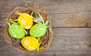 Wallpaper spring, colorful, wood, Easter, eggs, Easter, happy, holiday, spring, eggs