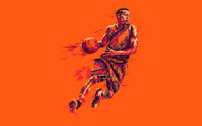 Wallpaper basketball, low poly, the game, the ball, basketball player