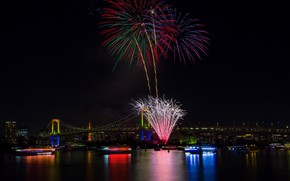 Picture lights, holiday, the building, beauty, ships, panorama, Tokyo, Japan, Rainbow Bridge, fireworks