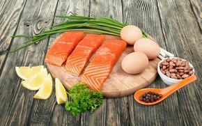 Picture lemon, eggs, fish, bow, Board