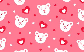 Picture pattern, pattern, hearts, bears, pattern, seamless, Floral, seamless
