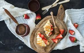 Picture coffee, Breakfast, strawberry, croissants, cutting Board, Natasha Breen