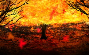 Picture autumn, tree, fire, by Y_Y