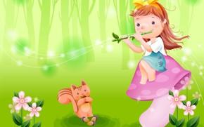 Picture summer, music, mood, art, girl, flute, clearing, squirrel, children's, mushroom