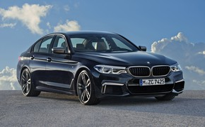 Picture the sky, clouds, black, BMW, Parking, sedan, 5, four-door, 2017, 5-series, G30, M550i xDrive, 462 …