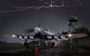 Picture attack, painting, WW2, British, Royal Air Force, Hawker, single, fighter - bomber, Typhoon Mk.Ib