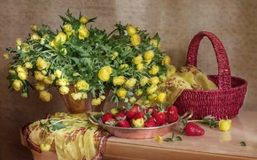 Picture strawberry, composition, marigold