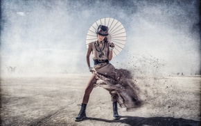 Picture girl, the wind, umbrella, dress, Steampunk