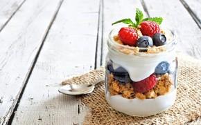 Picture berries, Breakfast, wood, yogurt, cereal