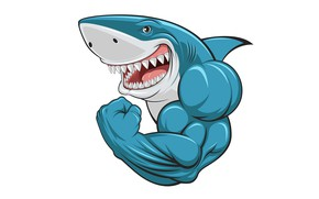 Picture shark, mouth, muscles, biceps