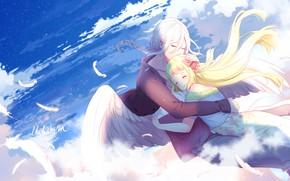 Wallpaper girl, two, the sky, art, guy, angel, romance, lluluchwan, hugs