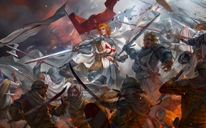 Picture art, warriors, saracens, blood, swords, crusaders, battle