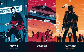 Wallpaper fiction, collage, poster, art, characters, DeLorean, films, fan art, Movie, Back to the Future, trilogy, ...
