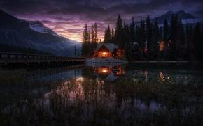 Wallpaper Yoho national Park, Canada, Emerald Lake, house, lake, the evening, lights, trees, Canadian Rockies, Emerald ...
