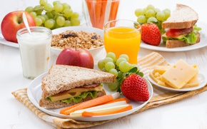 Picture apples, Breakfast, cheese, strawberry, juice, bread, grapes, sandwich, ham
