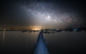 Wallpaper the milky way, Marina, stars, sea