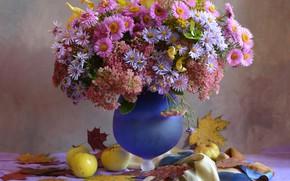 Wallpaper vase, flowers, still life, table, asters, apples, leaves