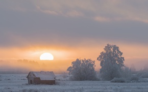 Picture winter, sunset, nature, fog, house