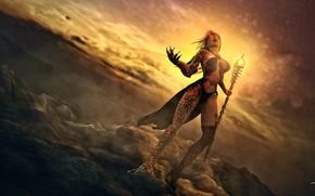 Picture the sky, stones, woman, staff, Dragon Magic