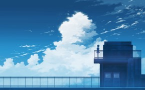 Picture roof, the sky, girl, by K.Hati