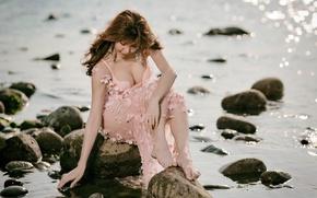 Picture girl, nature, shore