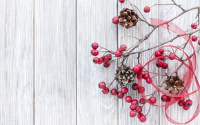 Wallpaper branches, xmas, decoration, wood, berries, Christmas, bumps, merry christmas, New Year
