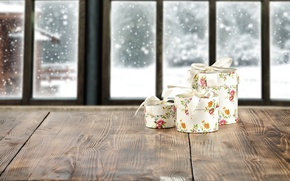 Wallpaper window, winter, snow, gifts