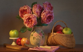Wallpaper flowers, apples, roses, bouquet, knife, still life, basket