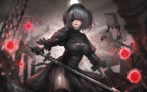 Picture girl, robot, sword, stockings, dress, cyborg, defender, NieR: Automata, YoRHa No.2 Type B