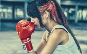 Wallpaper hair, profile, girl, face, Boxing gloves