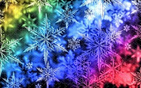 Picture the dark background, vector, rendering, light, New Year, snowflakes, rainbow picture, holiday puzzle, winter picture, …