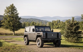 Picture road, greens, trees, hills, SUV, electric, Bollinger, B1 Electric Truck