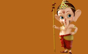 Picture background, child, elephant, Ganesh