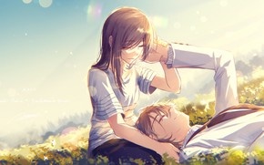 Wallpaper pair, girl, art, guy, meadow, romance, anime