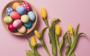Picture basket, eggs, spring, Easter, tulips, Holiday