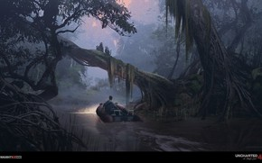 Picture forest, river, Uncharted 4, the jungle, jungle river
