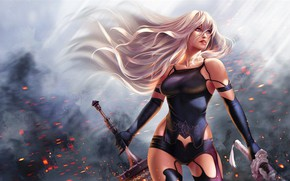 Picture Girl, Sword, Warrior, Fiction