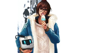 Picture glasses, ice cream, bag, art, mei, overwatch, Mei-Ling Zhou, winter collection