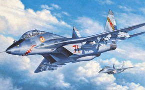 Picture the fourth generation, OKB MiG, double training-combat fighter, MiG-29UB, Soviet multipurpose fighter