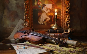 Picture Still life, Still life with violin and painting, with the violin and painting