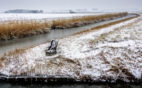 Picture winter, snow, river, chair