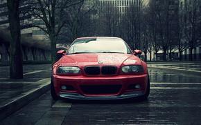 Wallpaper E46, Rain, BMW, Water, RED, Sight, Drops, City