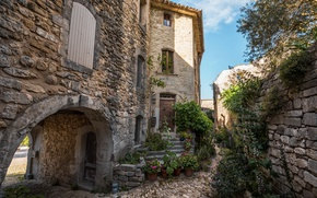 Picture house, France, shadow, plants, ladder, stone, France, houses, Provence, stairs, Provence