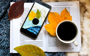 Picture flatlay, coffee, book, leaves, cup of coffee, coffee, phone, autumn, sweater, autmn, smart phone, a …