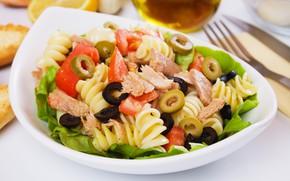 Picture vegetables, tomato, olives, salad, pasta
