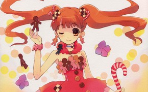 Picture girl, corset, staff, red, confetti, art, wink, cookies, two tails, gingerbread men, Noizi Ito