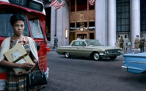 Picture auto, girl, the city, retro, street, Buick, Chevrolet Impala, Stories, Streetphotography, Lorraine Hansberry
