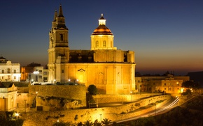 Picture night, lights, home, Cathedral, Malta, Valletta