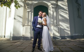 Picture girl, love, joy, smile, bouquet, dress, pair, male, the bride, wedding