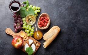 Wallpaper wine, Apple, cheese, bread, grapes, sausage